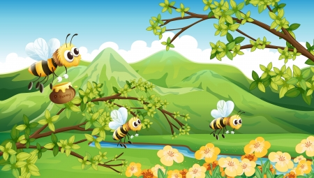 riverside tree: Illustration of bees near the mountain