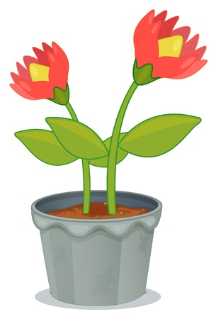 potting soil: Illustration of a pot of plant with flower on a white background