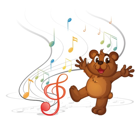 Illustration of a dancing bear and the musical notes on a white background