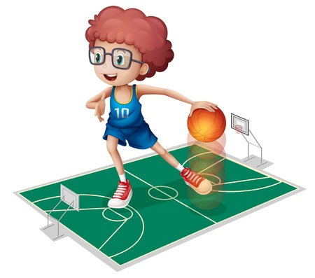 Illustration of a giant player in a small court on a white background Vector