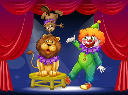 centerstage: Illustration of a clown with animals at the stage Illustration