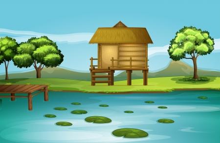 강둑: 강둑에서 오두막의 그림 일러스트