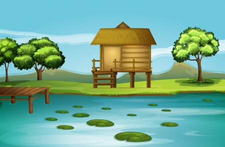 Illustration of a hut at the riverbank
