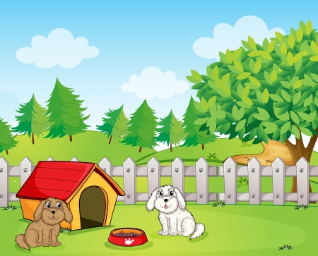 Illustration of a doghouse inside the wooden fence near the hill Vector
