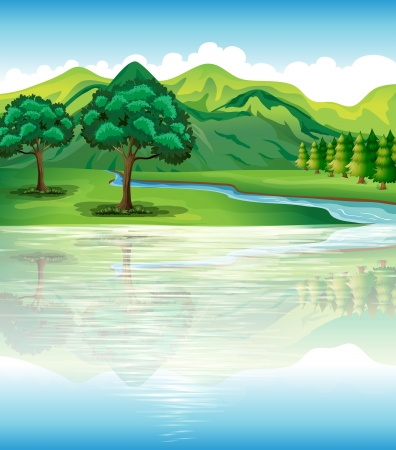 mountain stream: Illustration of our natural land and water resources Illustration