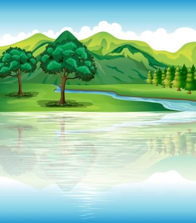 Ilustración de nuestro terreno natural y recursos hídricos Ilustración de vector