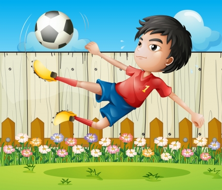 kicking ball: Illustration of a boy playing soccer inside the fence Illustration