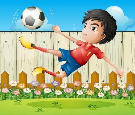 kicking ball: Ilustraci�n de un ni�o jugando f�tbol dentro de la cerca Vectores