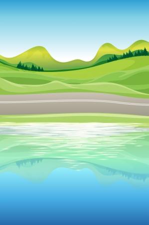 nubes caricatura: Ilustración de la vista al río Vectores