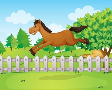 jumping fence: Ilustración de un caballo de salto
