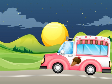 Illustration of a pink icecream bus  Vector