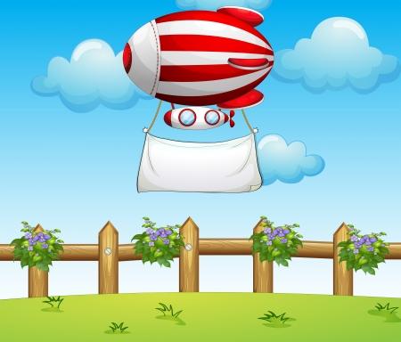 blimp: Ilustraci�n de un dirigible raya llevando una bandera vac�a