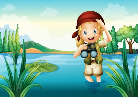 Illustration of a girl scout at the lake Vector