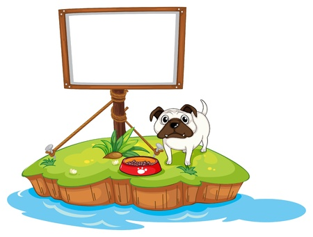 Illustration of an empty board with a dog in an island on a white background Stock Vector - 18052825