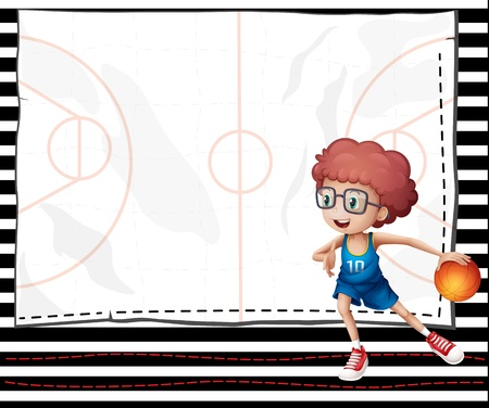 Illustration of a boy playing basketball Vector