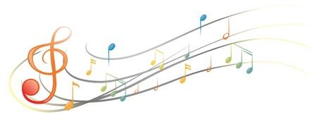 Illustration des différentes notes de musique et des symboles sur un fond blanc Vecteurs