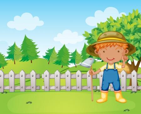 Illustration of a boy holding a rake Stock Vector - 18052871