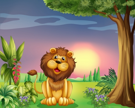 flowers cartoon: Illustration of a happy face of a lion