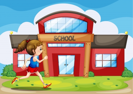 college building: Illustration of a girl in front of the school building