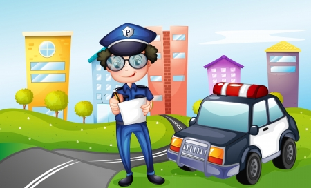 highway patrol: Illustration of a policeman at the street