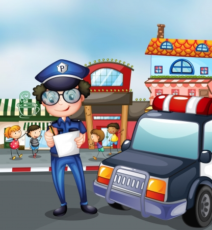 patrol: Illustration of a policeman at a busy street