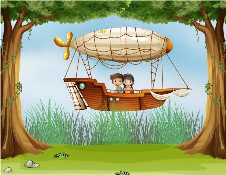 Ilustración de los niños que viajaban en una aeronave
