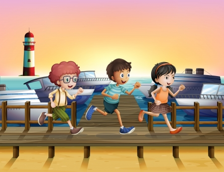 sea seaport: Illustration of kids running at the seaport