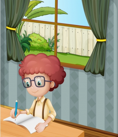 Illustration of a young boy writing inside the house Vector