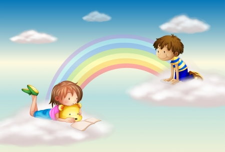 kids reading: Illustration of a rainbow with kids Illustration