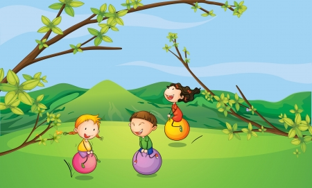 bouncing: Illustration of happy kids playing with the bouncing balls