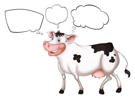 Illustration of the empty callouts and a cow on a white background Stock Vector - 18052829