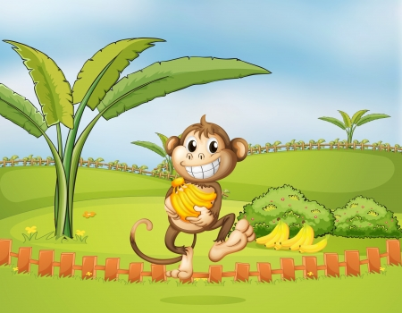 bush babies: Illustration of a monkey running away with bananas