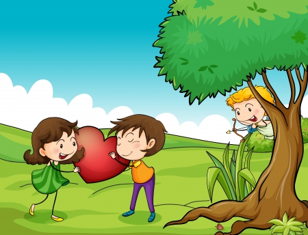 couples outdoors: Illustration of a girl and a boy holding a red heart Illustration