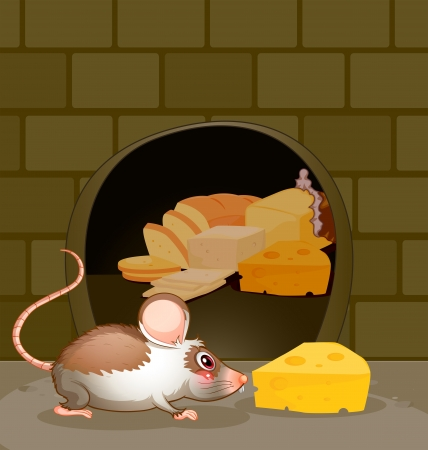 house mouse: Illustration of a hole at the wall with bread and cheese Illustration