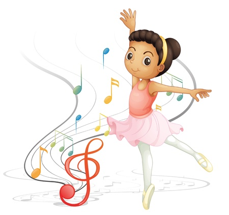 ballet: Illustration of a girl dancing with musical notes on a white background