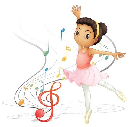 ballet clásico: Ilustración de una chica bailando con las notas musicales sobre un fondo blanco