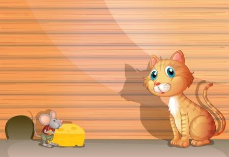 raton caricatura: Ilustración de un gato y una rata Vectores