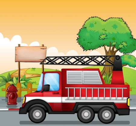 fire truck: Illustration of a red utility truck and the signboard at the street Illustration
