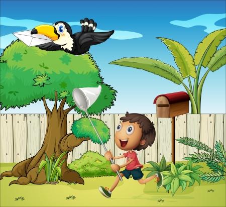 arboles de caricatura: Ilustraci�n de un ni�o de la captura de las aves con un sobre