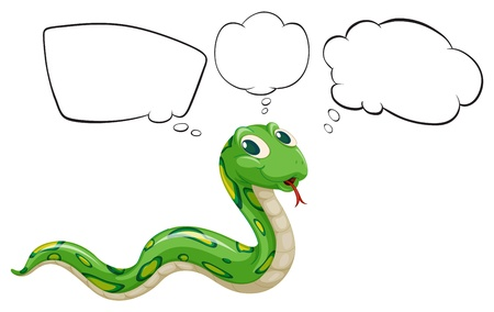 funny pictures: Illustration of a snake with empty callouts on a white background