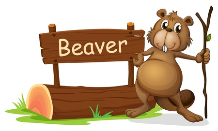 Illustration of a signboard and a beaver with a stick on a white background Vector