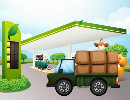 Illustration of a truck with chickens near the gasoline station Vector