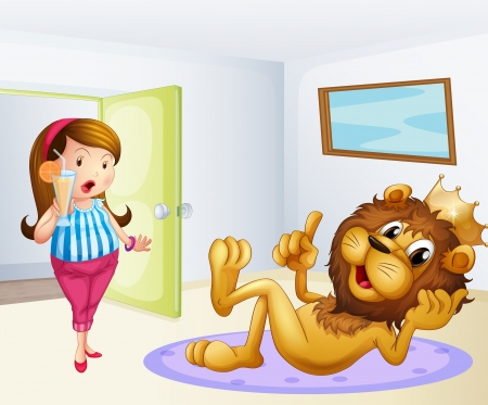Illustration of a fat lady and a lion inside a room Vector
