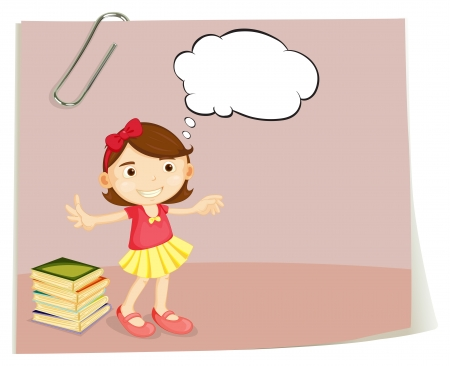 Illustration of a piece of paper with a girl on a white background Vector