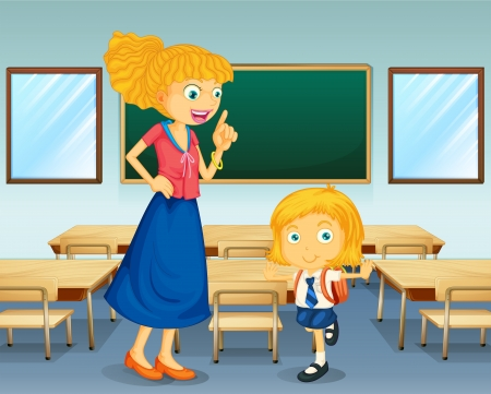 teacher and student: Illustration of a teacher and a student