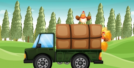 Illustration of a chicken ebove a truck Vector