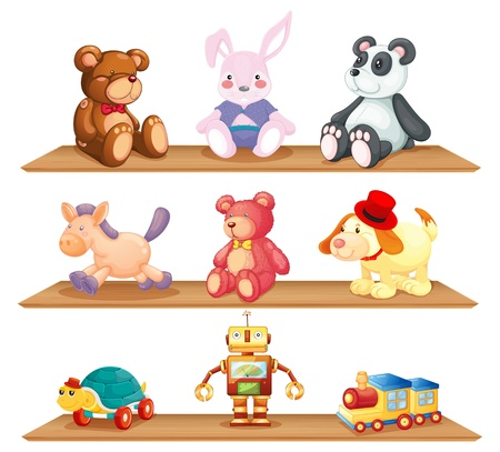 stuffed animals: Illustration of the wooden shelves with different toys on a white background