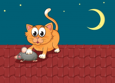 Illustration of a cat and a rat at the rooftop Vector