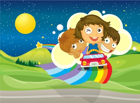 Illustration of the three kids riding on a car passing over the rainbow Stock Vector - 18052854