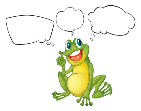 think bubble: Illustration of a thinking frog on a white background Illustration